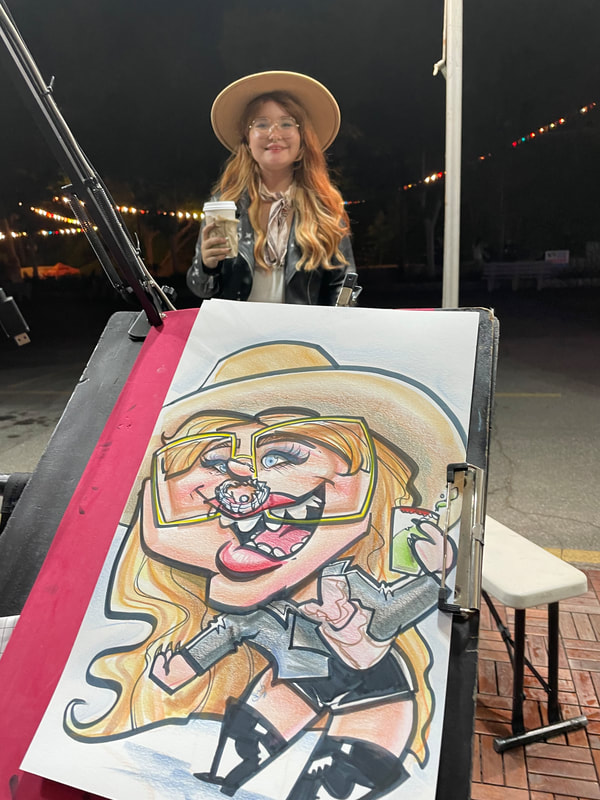 Not from photos, caricatures can be made with private live appointments at locations in the Sacramento, California area.